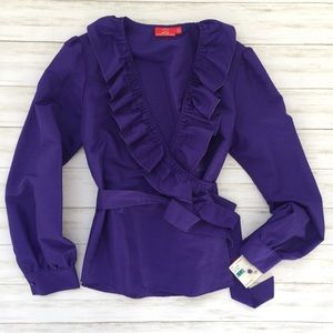 NWT Gorgeous Oscar De La Renta Purple Wrap Blouse